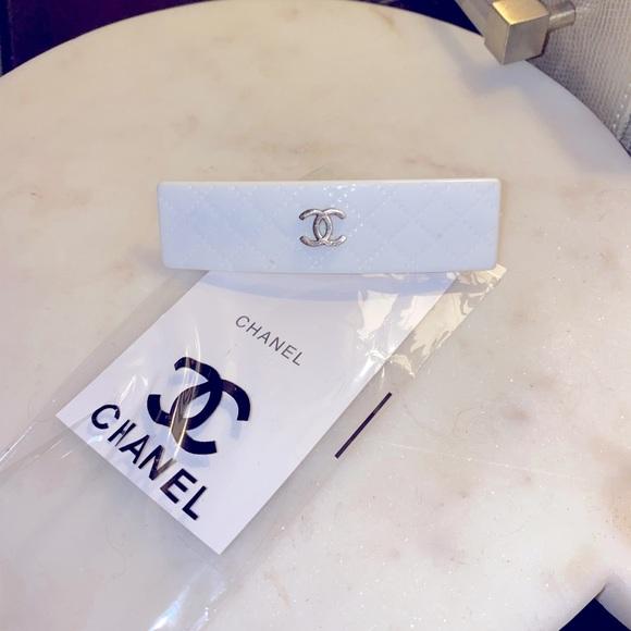 Chanel CC white Vintage Hair Barrette Clip